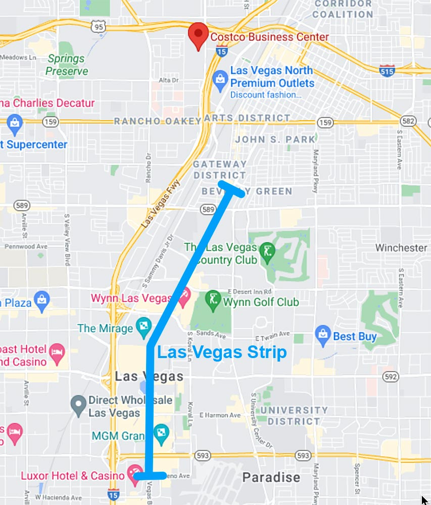 Map of the Costco Business Center in relation to the Las Vegas Strip.