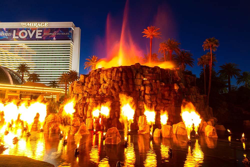 Volcano erupting at the Mirage Las Vegas.