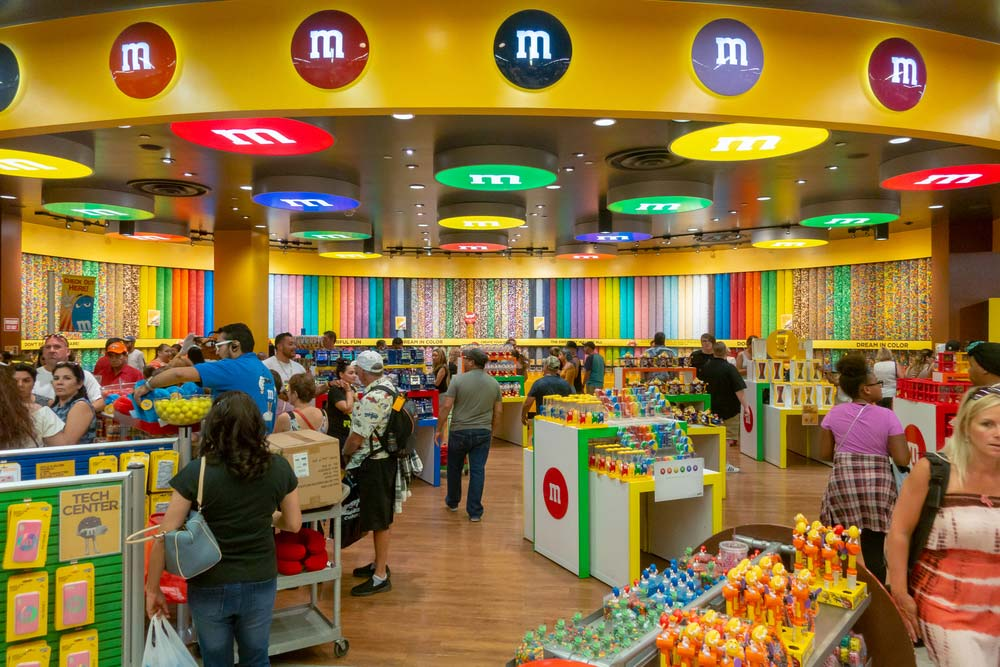 Inside the M&M store (M&M's World) on the Strip in Las Vegas, NV.